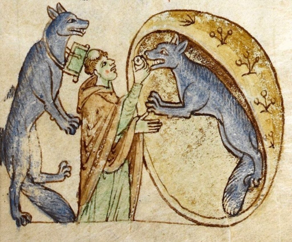 A Topographia Hiberniae illustration of a priest and two werewolves from the Kingdom of Ossory.