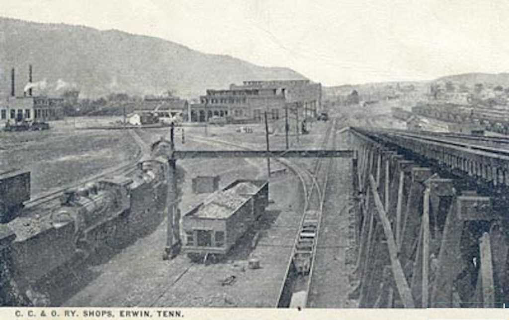 A postcard of the railway yard of Erwin, TN from the early 1900s. Image: epodunk.
