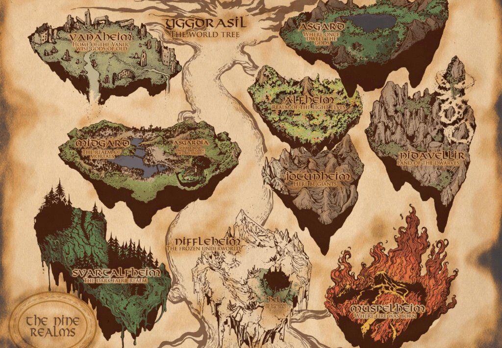 Marvel interpretation of the nine worlds in Norse mythology. yggdrasil
