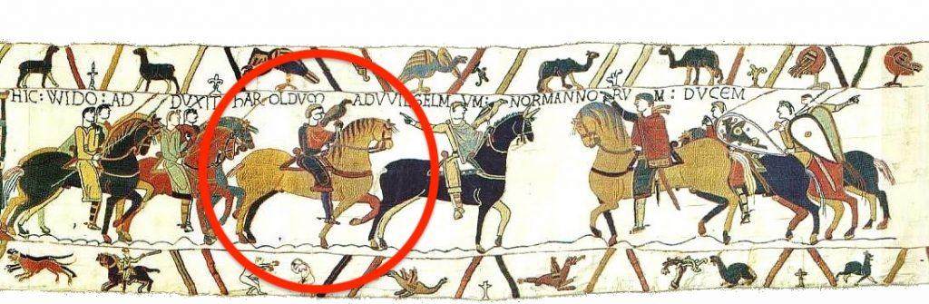Bayeux Tapestry showing king Harold Godwinson