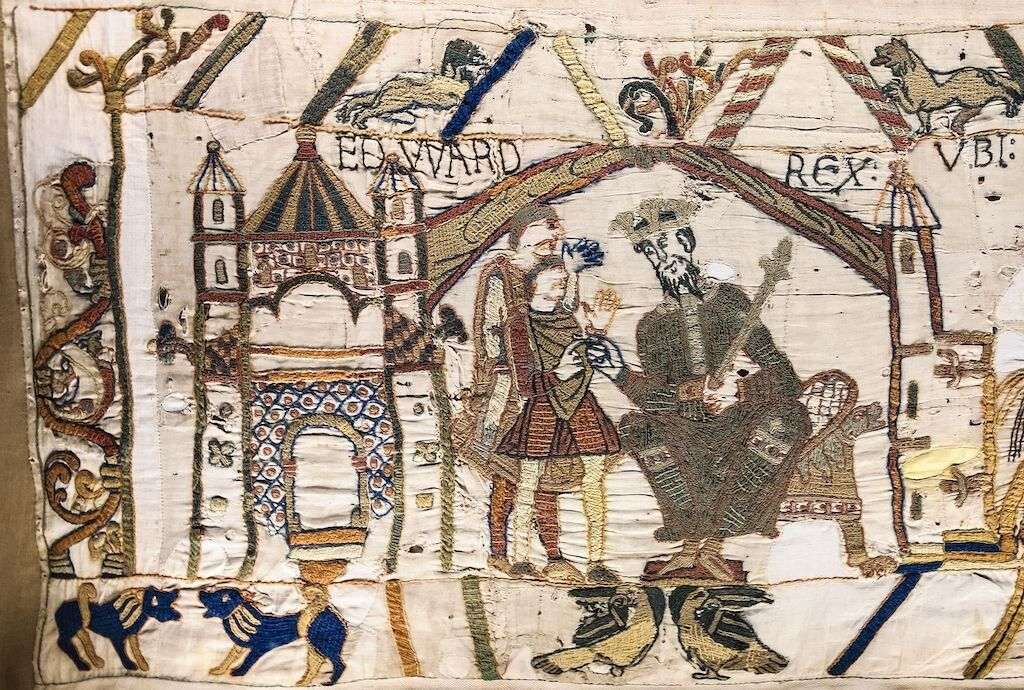 Scene On eof the Bayeux Tapestry shows Edward the Confessor sends Harold Godwinson to Normandy.