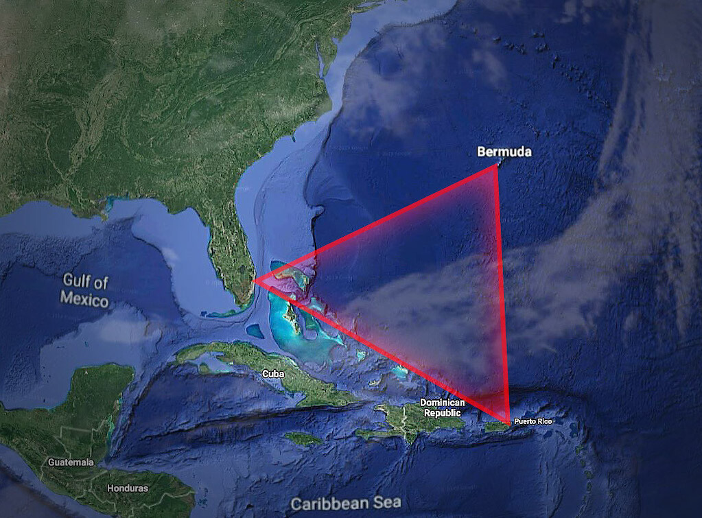 The Bermuda Triangle stretches from Miami, to San Juan , Puerto Rico to Bermuda.