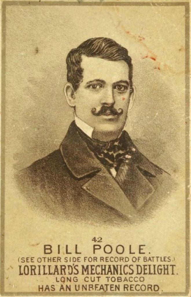 A tobacco card portrait from the 1880s of Bill Poole.