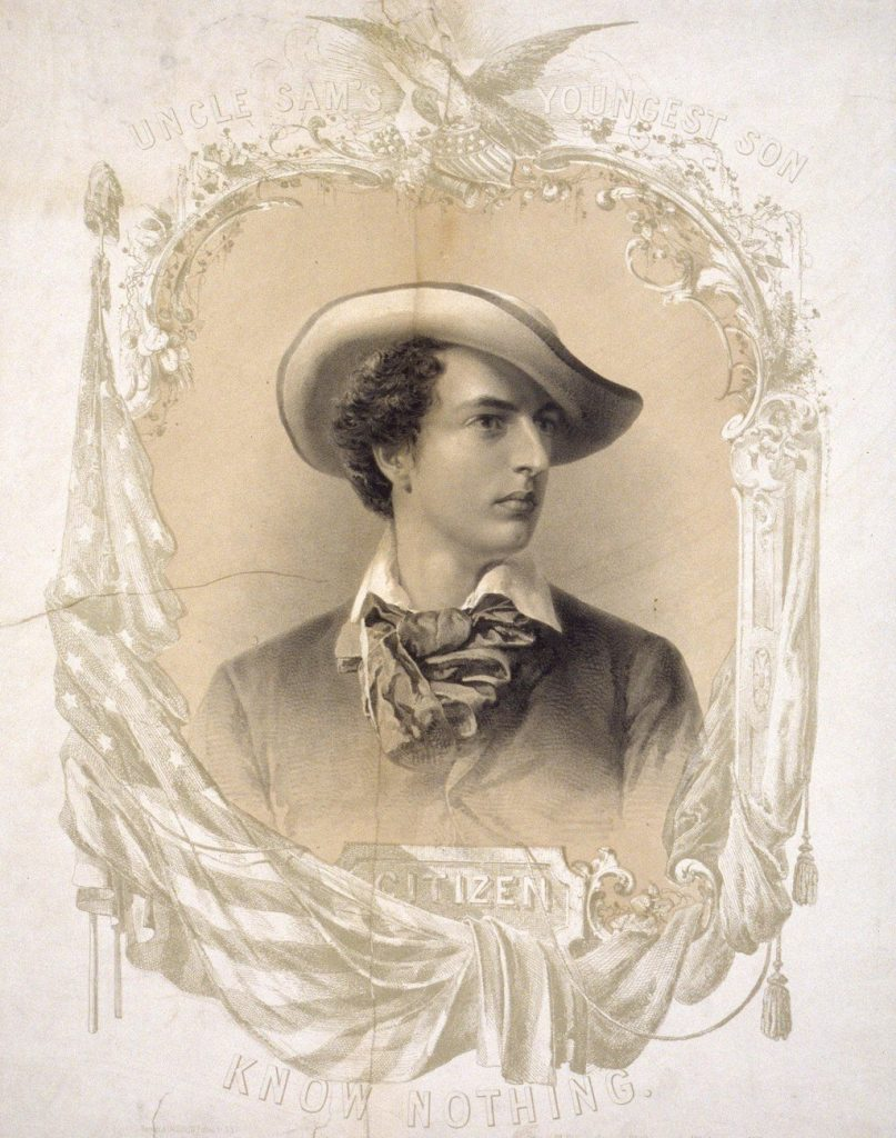 An 1855 portrait of a young man representing the Know Nothing Party.