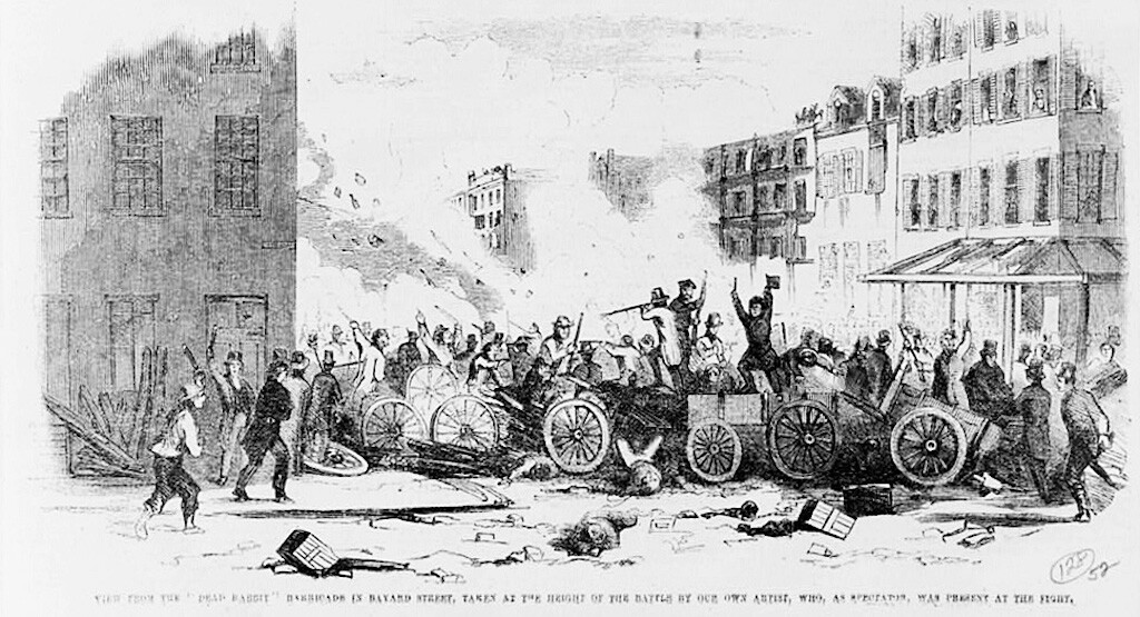 illustration of an 1857 fight between the Bowery Boys and the Dead Rabbits in the Sixth Ward, New York City.