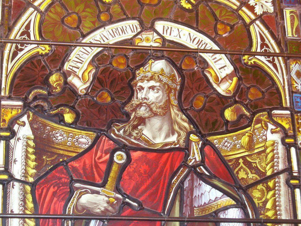 A Shetland Town Hall window pane of Harald Hadrada.