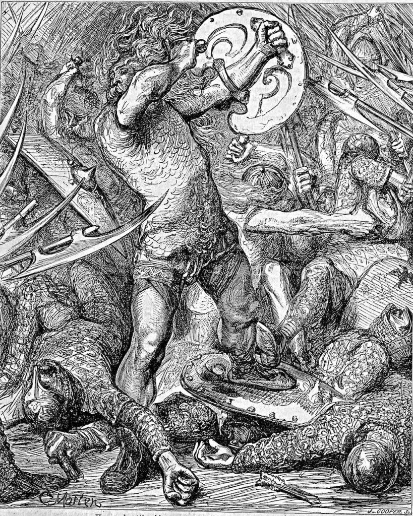 Hereward the Wake fighting Normans.