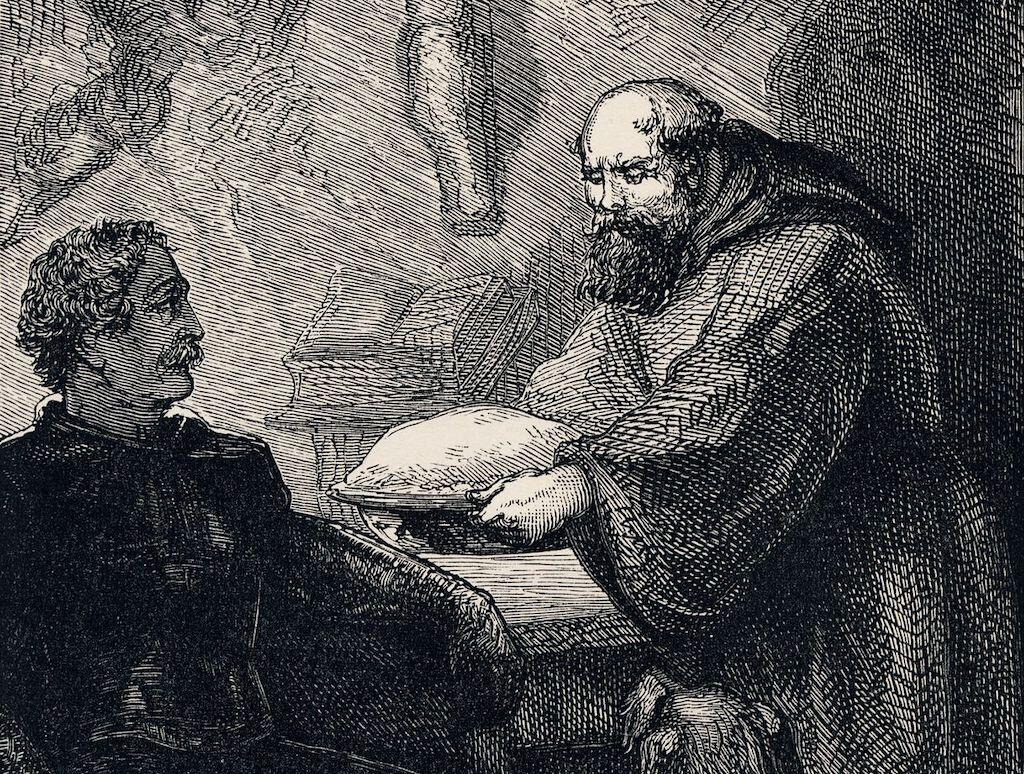 Friar Tuck meets Richard the Lionheart in Ivanhoe (1886).