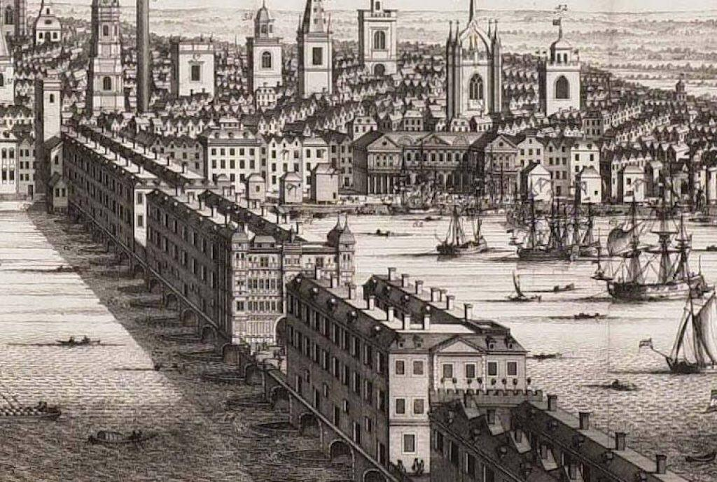 The Old London Bridge in 1710.