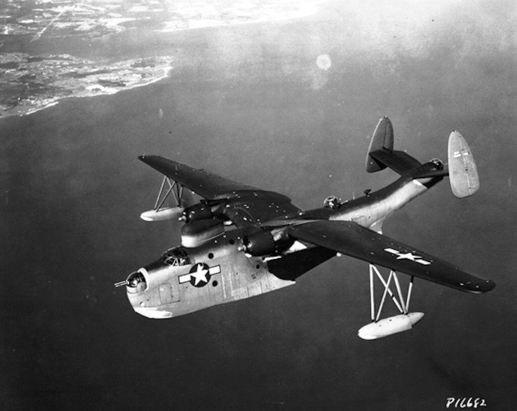 A Martin PBM-5 Mariner in flight, circa in 1945.