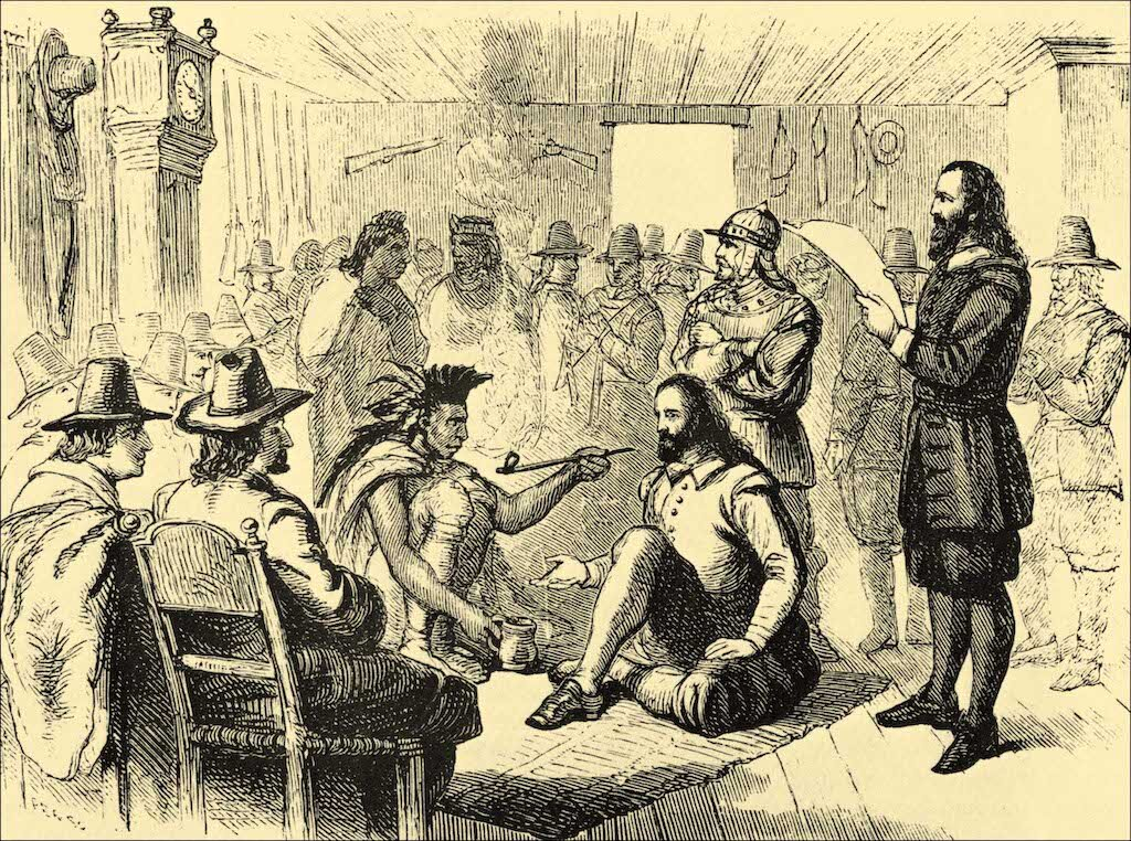 Massasoit sharing a ceremonial pipe with Plymouth Colony Governor John Carver.