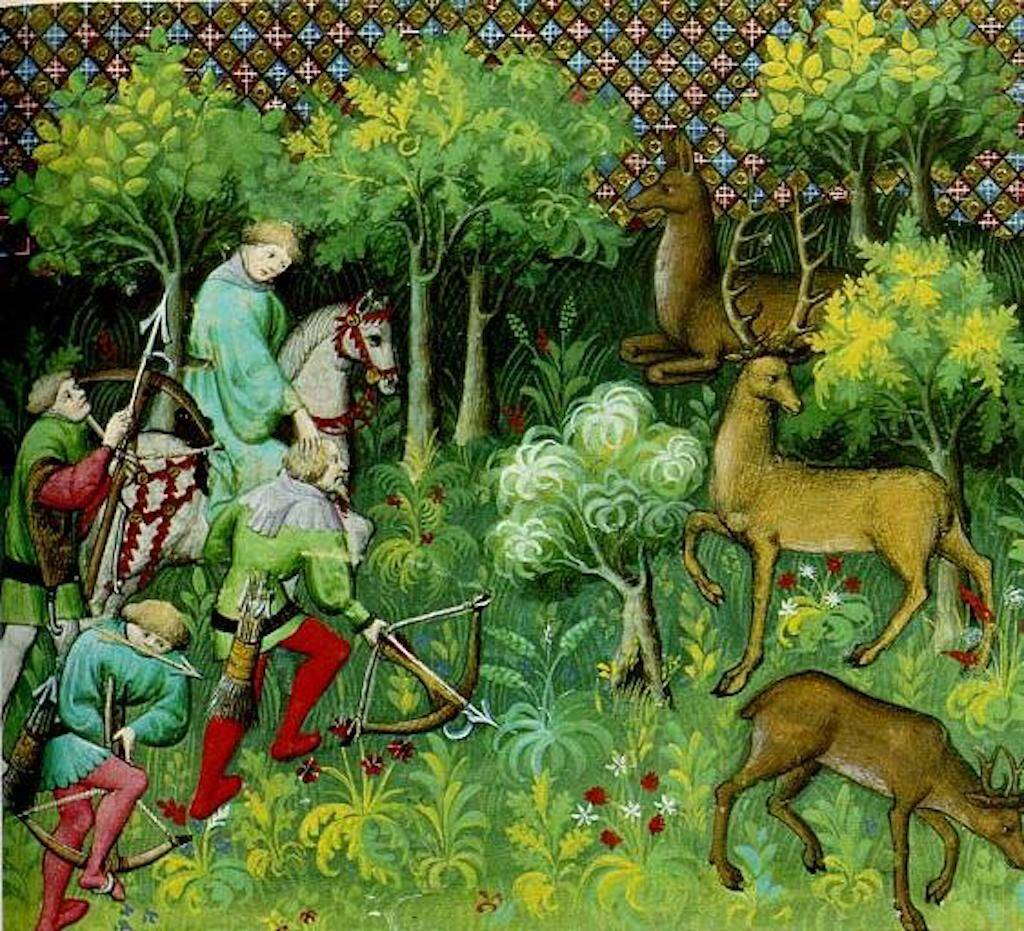 Gaston III, Count of Foix. A medieval forest, from Livre de chasse (1387).