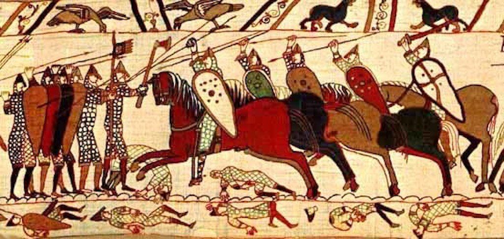 A depiction of the Battle of Hastings.