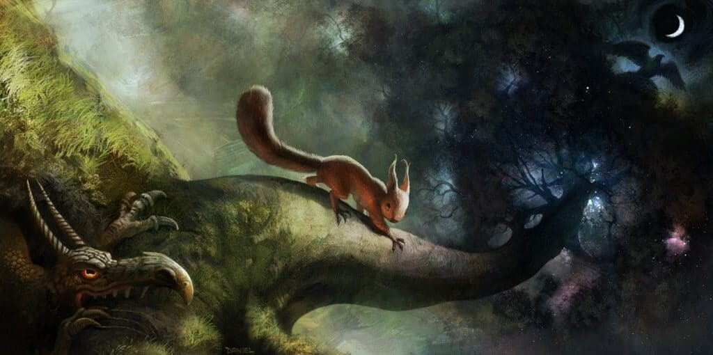Ratatosk carries messages from Nidhogg up the trunk of Yggdrasil to Eagle. Original source unknown.