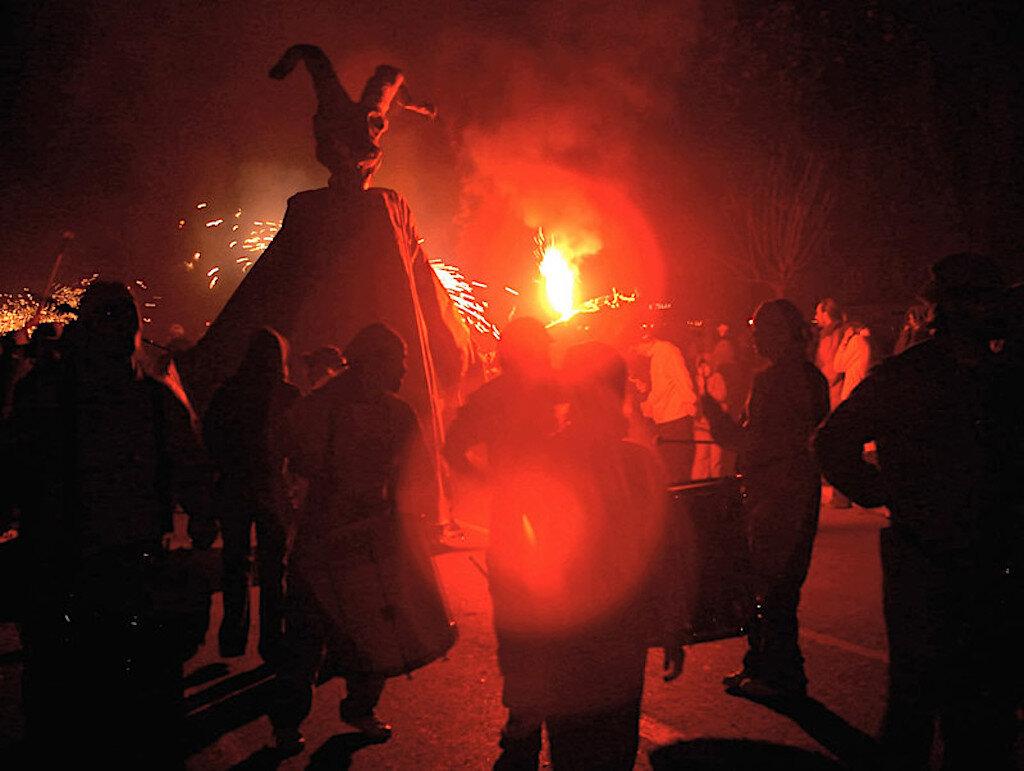 A Samhain bonfire wards off evil spirits on Halloween.