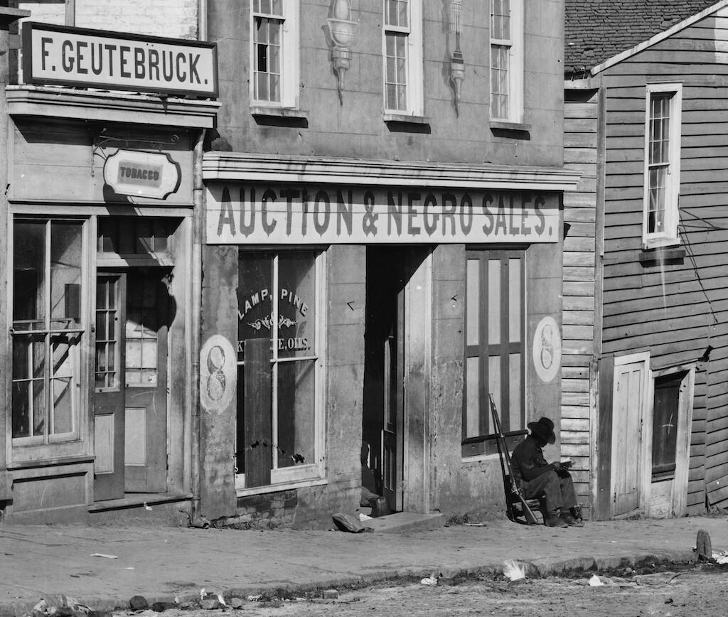 Slave trader's business in Atlanta, Georgia, 1864.