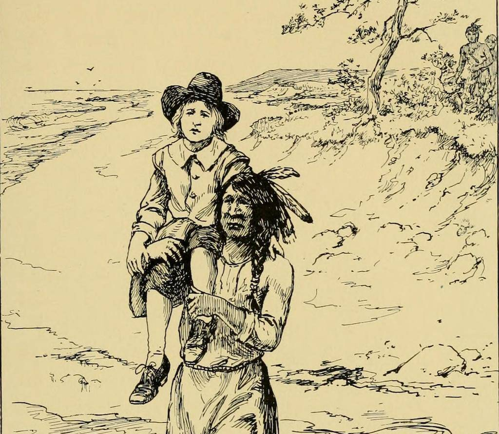 A 1922 storybook for children illustration showing Squanto returning John Billington back to the colony.