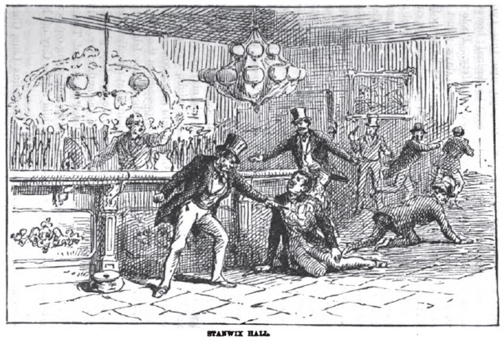 An illustration of murder at the Stanwix Hall bar.