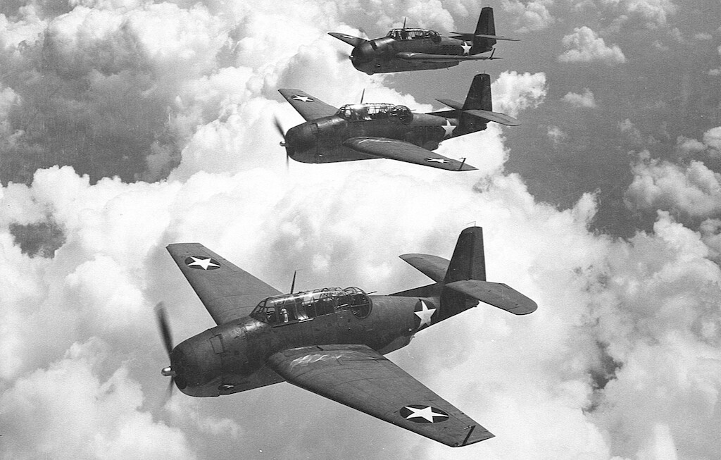 A few Grumman TBF-1 Avengers from Escort Scouting Squadron 29 (VGS-29) based out of Norfolk, VA in 1942.