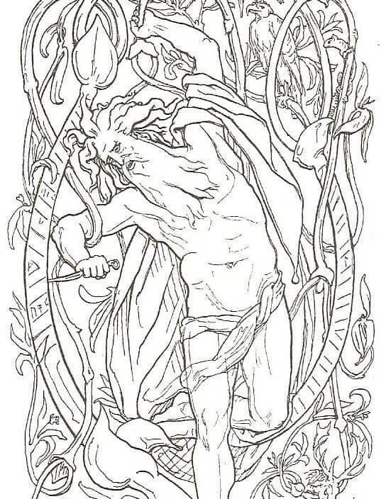 The sacrifice of Odin. Published 1895. Public domain.
