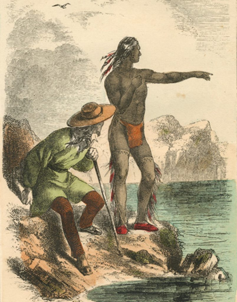 An 1864 wood engraving of Tisquantum as a guide and interpreter.