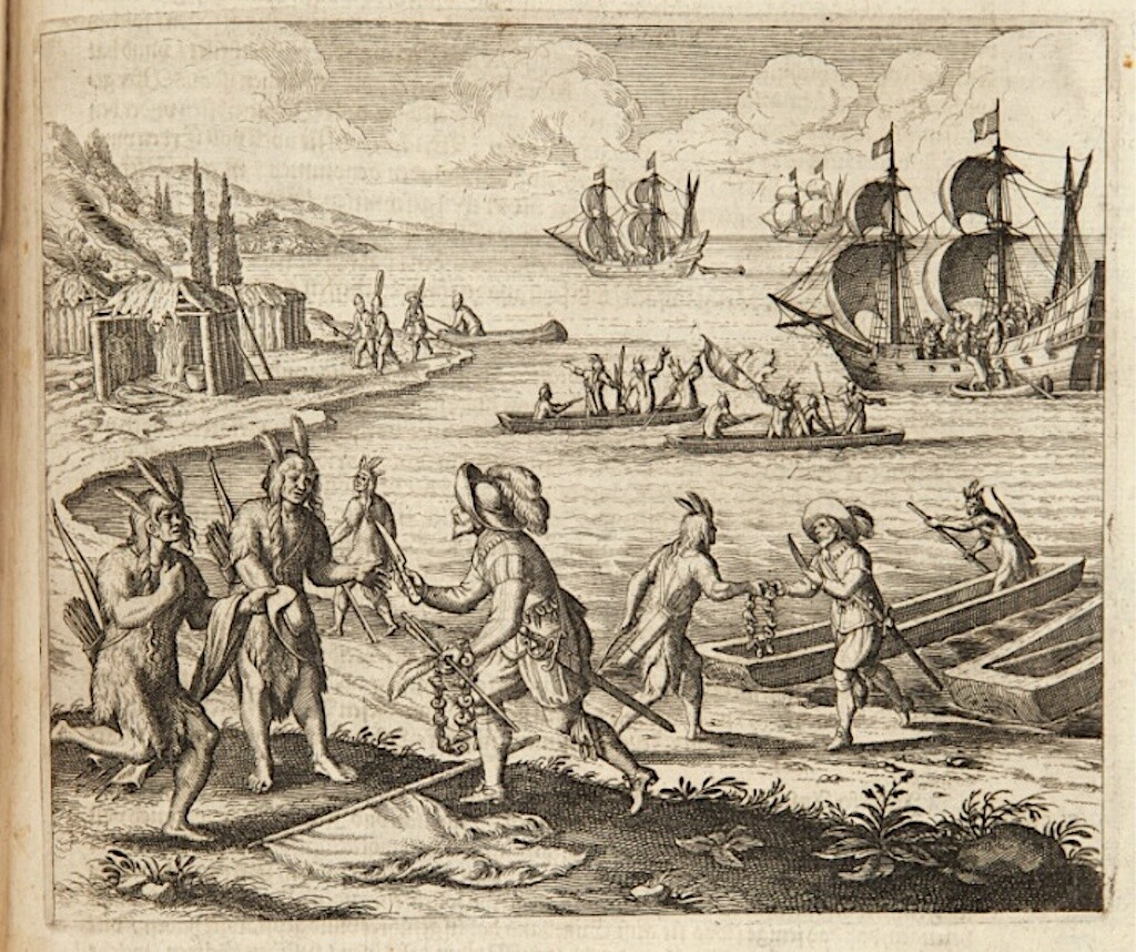 A 1597 illustration of trading with the Wampanoag in Martha's Vineyard, Massachusetts.