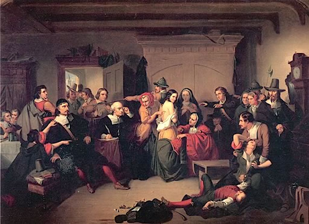 """The Malleus Maleficarum prescribed examinations for suspect witches. """"Examination of a Witch"""" by Thompkins H. Matteson, 1853."""