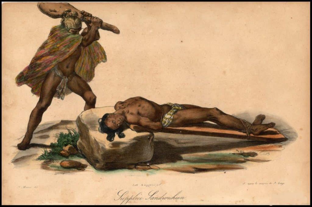 Depiction of Hawaiian sacrifice. Source: Wikimedia Commons, Jacques Arago 1822.