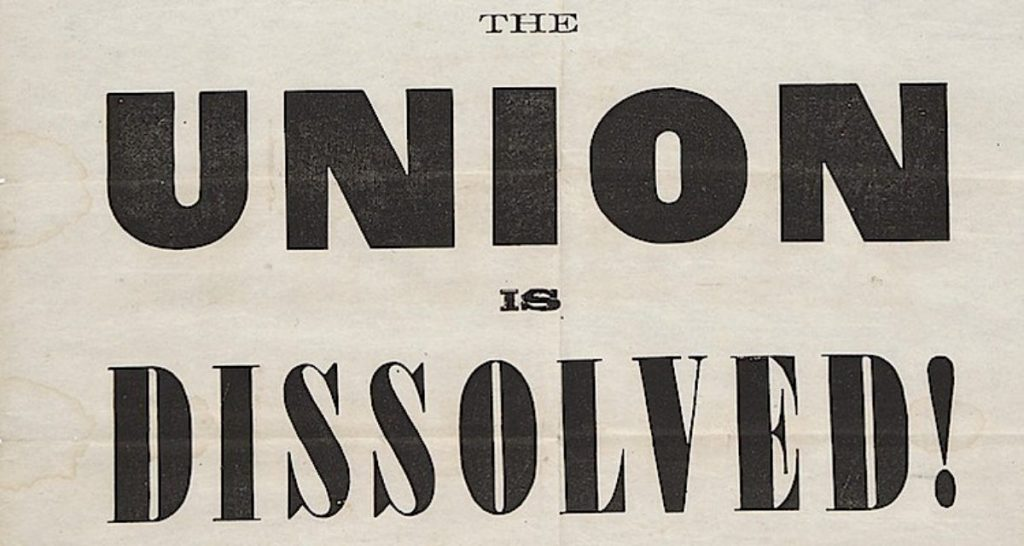Charleston Mercury newspaper headline upon South Carolina's secession from the Union.