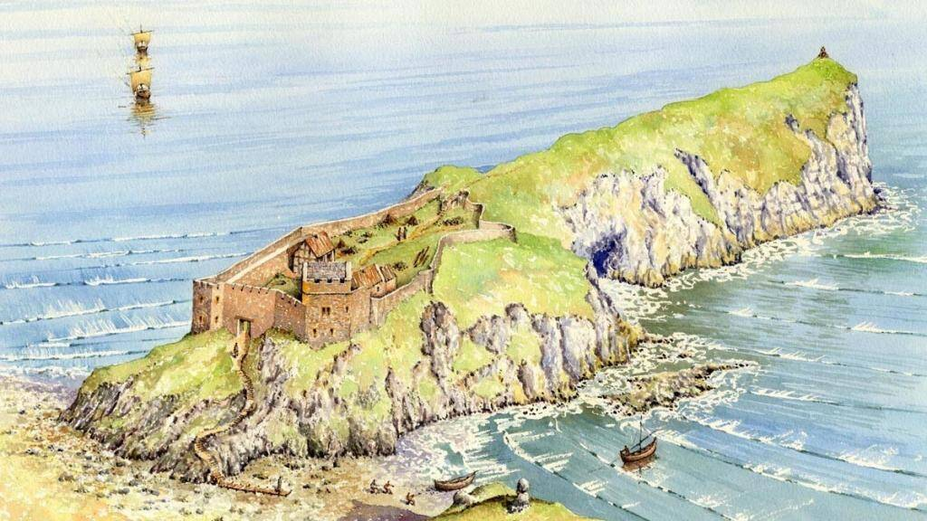 Reconstruction of Kinbane Castle by artist Philip Armstrong. Photo of visitors' board at Kinbane.