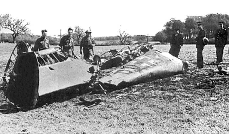 The wreckage of Rudolf Hess' Messerschmitt Bf 110D after crashing at Bonnyton Moor, Scotland, on May 10th, 1941.