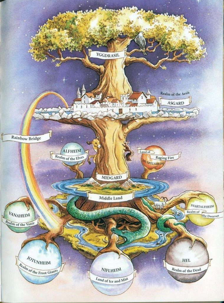 In Norse mythology, Yggdrasil is the enormous glistening ash tree that cradles the nine realms of the cosmos within its branches and roots.