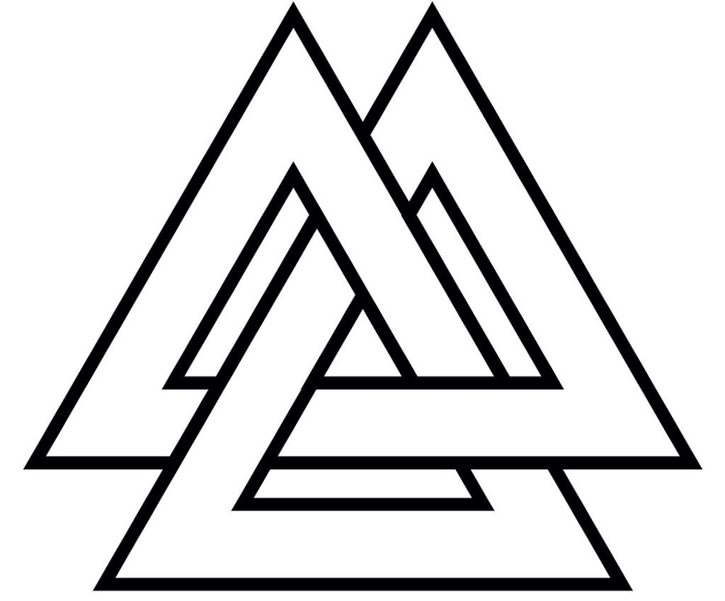 The Valknut Norse symbol consists of three interlaced triangles.