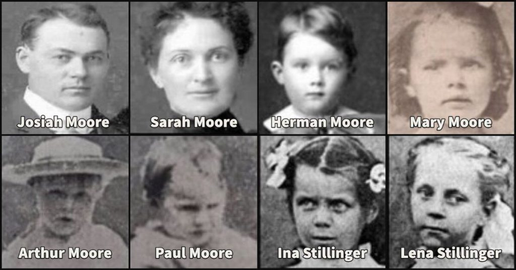 The eight victims of the Villisca Axe Murders.