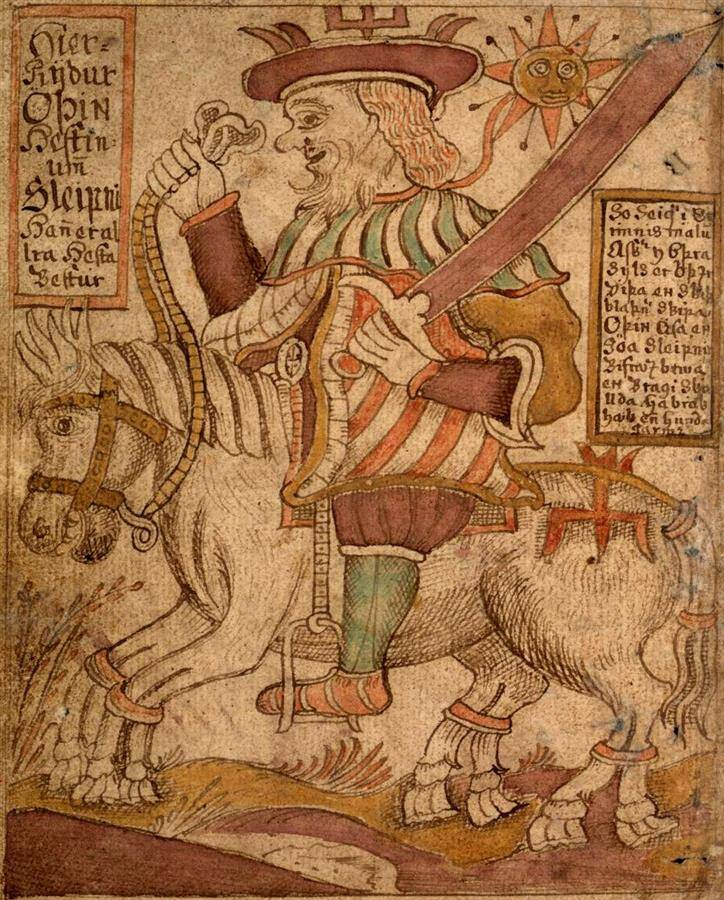 Odin on Sleipnir, Icelandic manuscript SÁM 66, 18th century, Árni Magnússon Institute in Iceland.