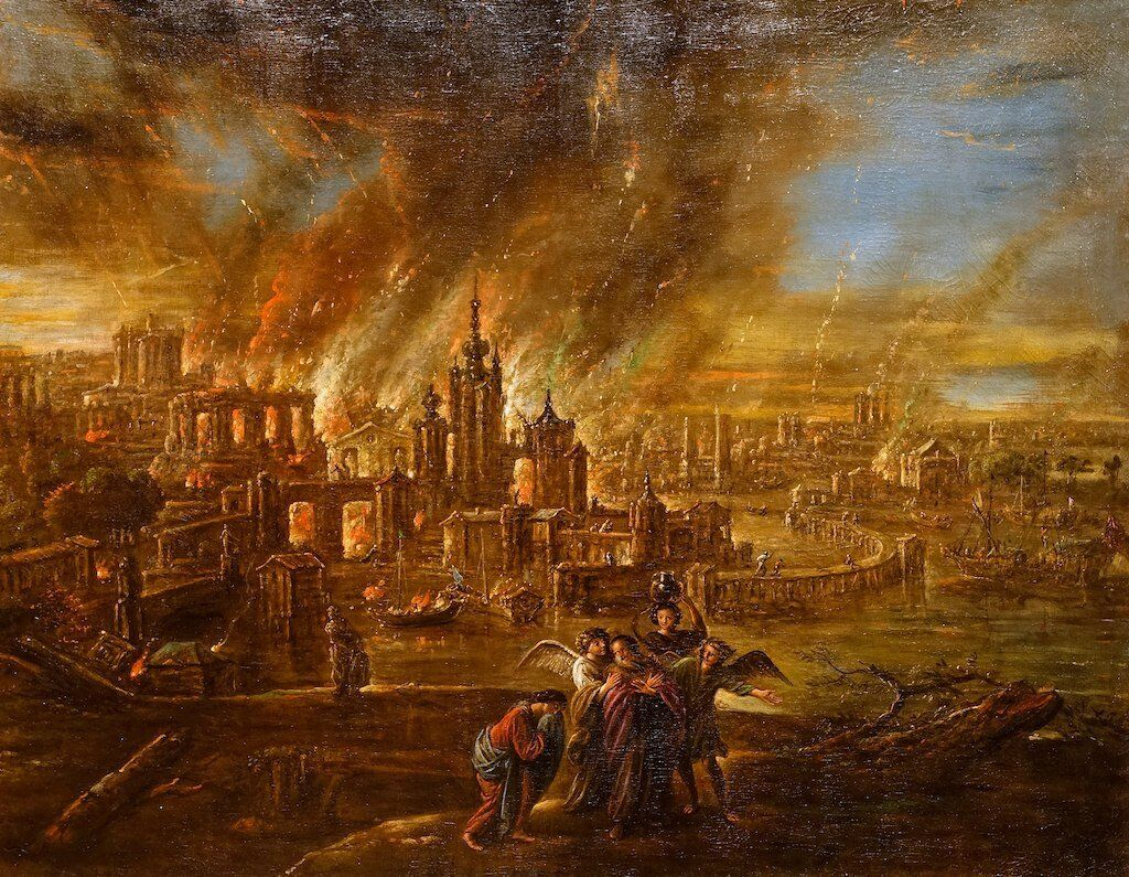 The destruction of Sodom and Gomorrah by Jacob de Wet II, 1680.