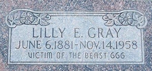 Lilly E. Gray's gravestone. Credit: Anonymous.